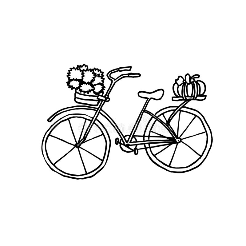 Autumn bycicle. Monochrome sketch, hand drawing. Black outline on white background. Vector illustration royalty free illustration