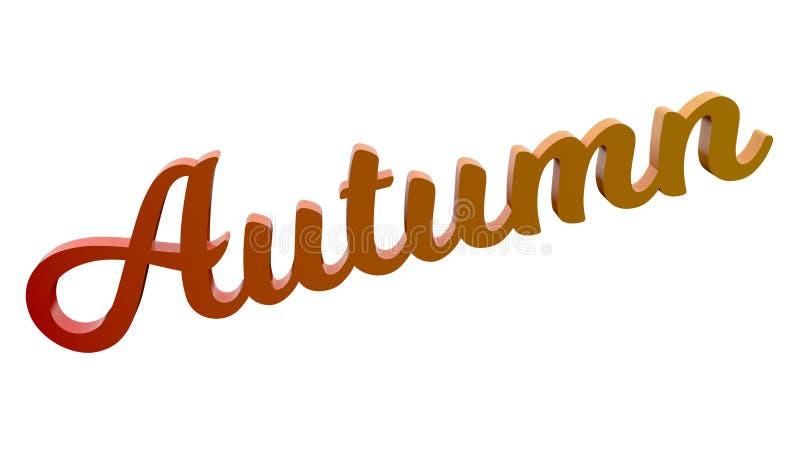 Autumn Calligraphic 3D rendeu a ilustração do texto colorida com inclinação do arco-íris do RGB ilustração do vetor