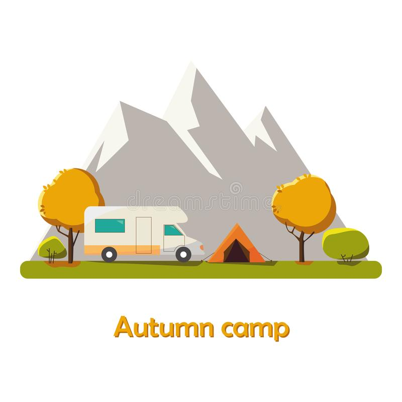 Autumn Camping vector flat illustration landscape, hiking, outdoor recreation concept with flat camping travel. Travel tourism res stock illustration