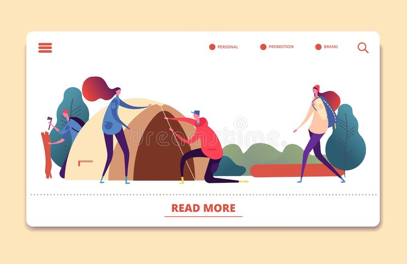 Autumn camping vector landing page. People relaxing in autumn forest web template stock illustration