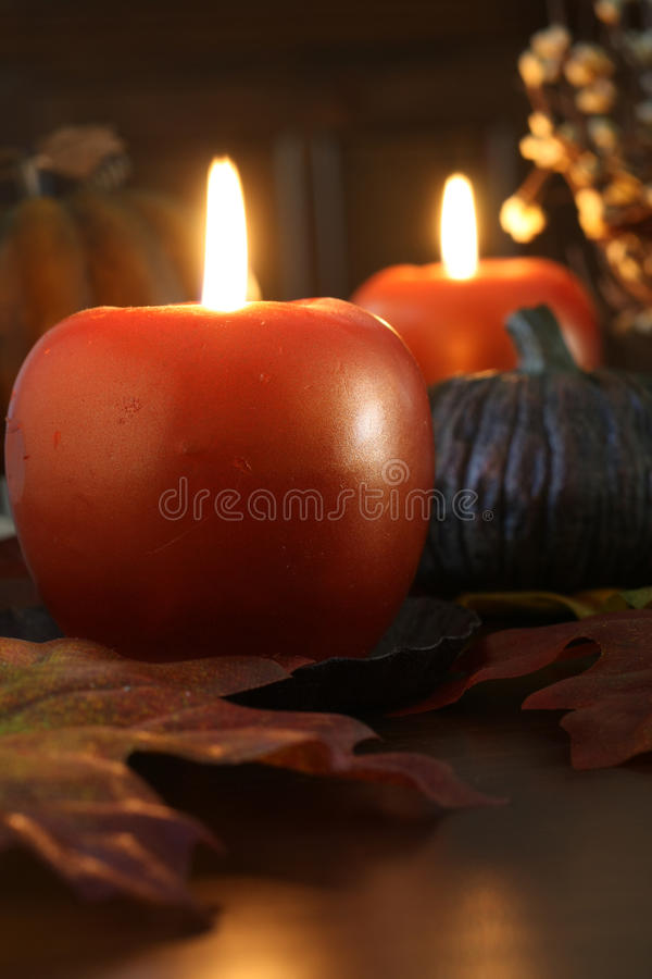 Autumn candle display royalty free stock photography