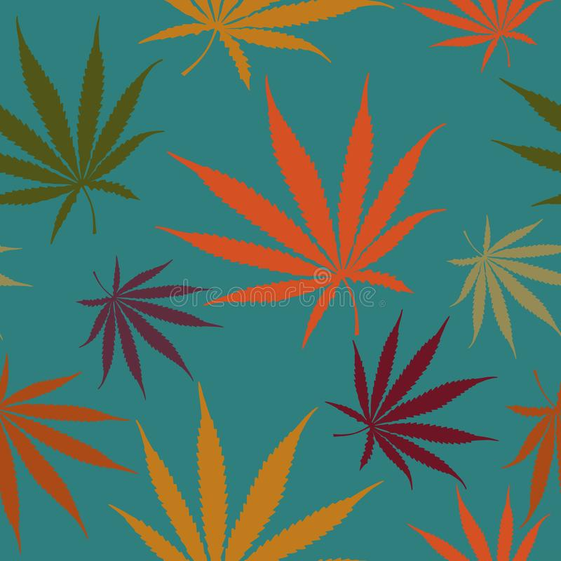 Autumn Cannabis Leaves Seamless Pattern, Hemp Weed Leaves Surface Pattern, Marijuana Repeat Pattern Background for Textile Design, vector illustration