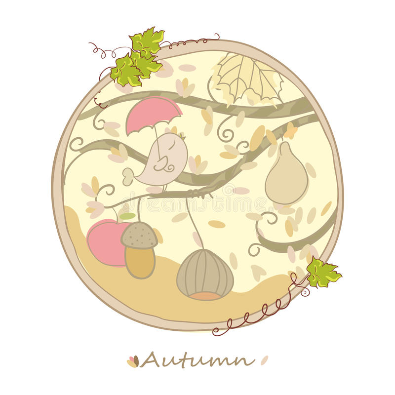 Download Autumn card stock vector. Illustration of chestnut, beautiful - 28081223