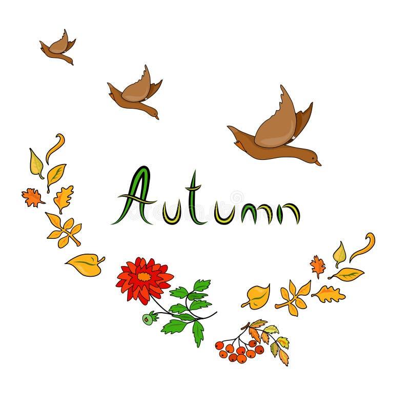 Autumn Card met eenden vector illustratie