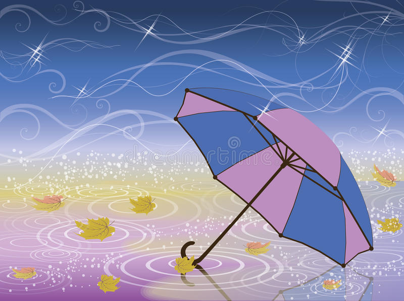 Download Autumn card with umbrella stock vector. Image of nature - 43286800