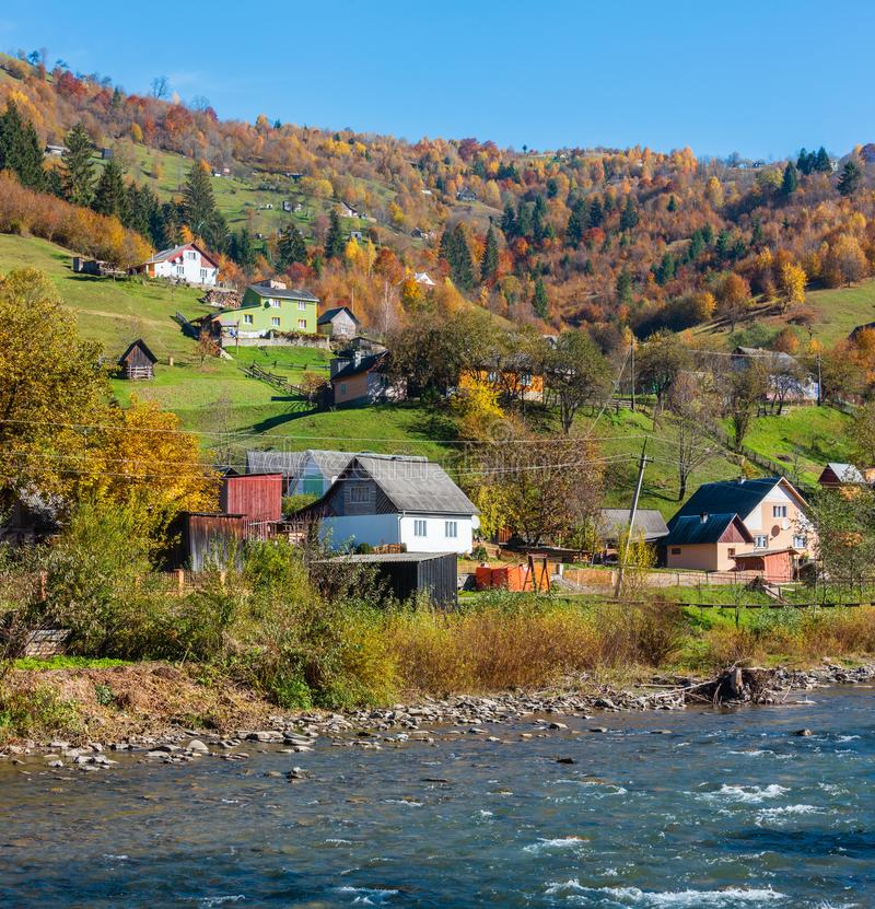 Autumn Carpathian mountain river Ukraine. stock images
