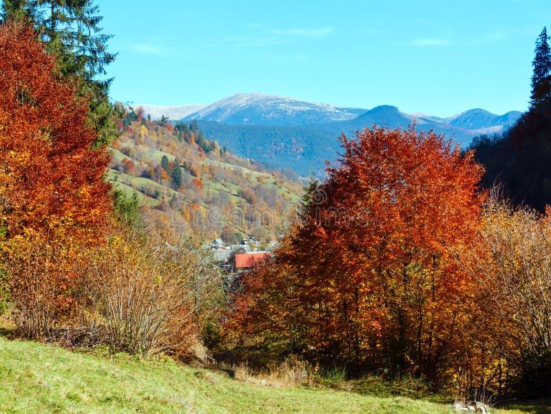 Autumn Carpathian mountain Ukraine. Autumn Carpathian Mountains landscape with multicolored yellow-orange-red-brown trees on slope Transcarpathia, Ukraine stock photos