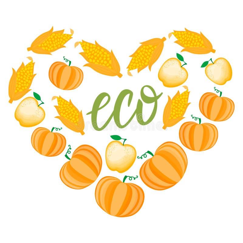 Autumn Cartoon Heart mit orange Gemüse und Apfel Vektor ilustration lokalisiert auf weißem Hintergrund Begriffserntegraphik mit v vektor abbildung