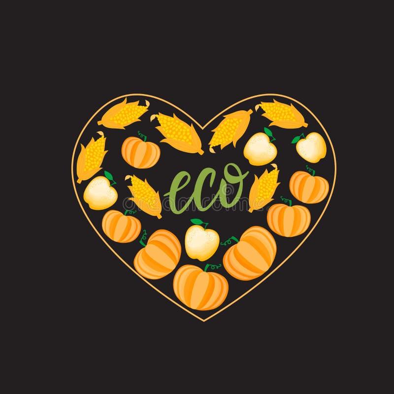 Autumn Cartoon Heart mit orange Gemüsekürbismaisapfel Vektor ilustration lokalisiert auf dunklem Hintergrund lizenzfreie abbildung