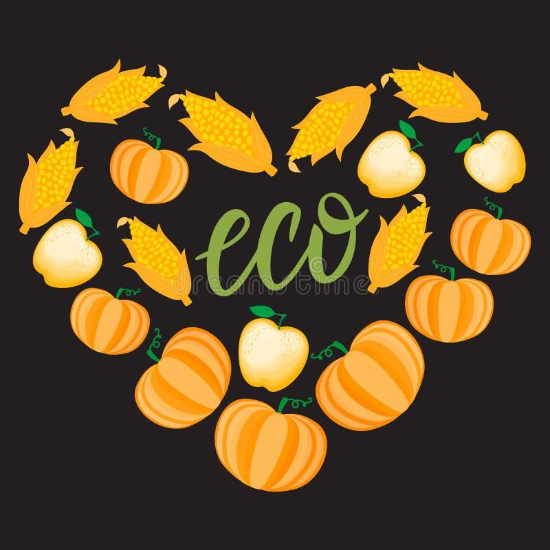 Autumn Cartoon Heart with orange vegetable pumpkin corn apple. Vector ilustration isolated on dark background royalty free illustration