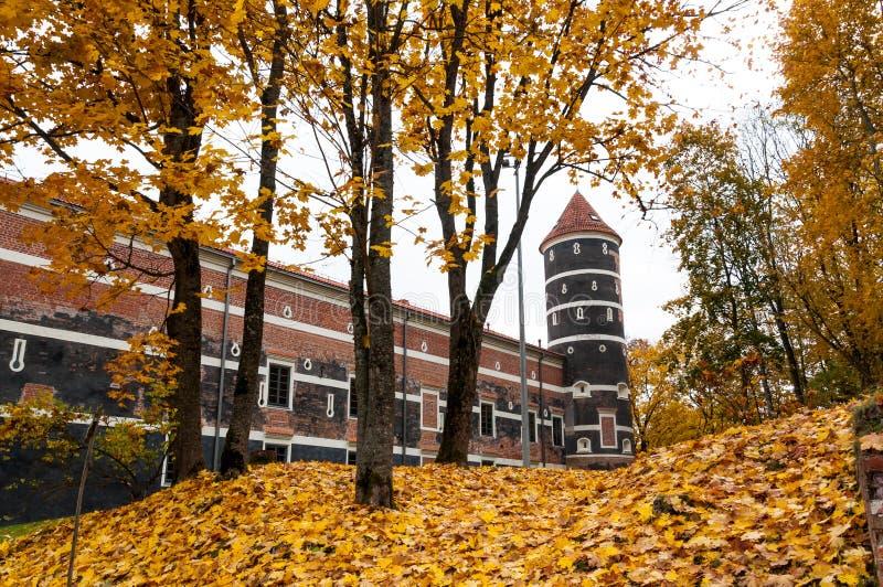 Autumn castle. View of Panemune castle in Lithuania in golden autumn park surroundings stock photo