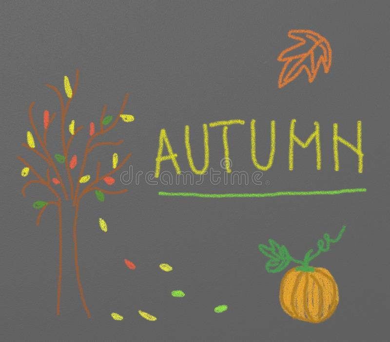 Autumn - chalk drawing stock illustration