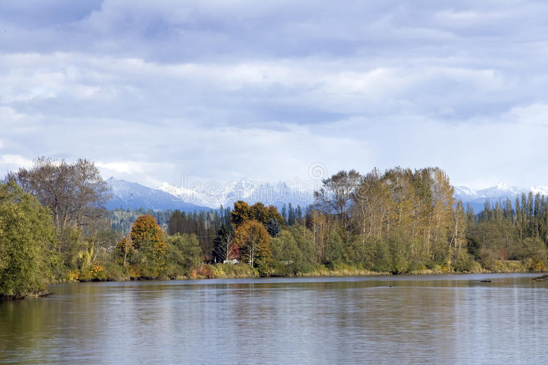 Autumn charm at Snohomish River stock photography
