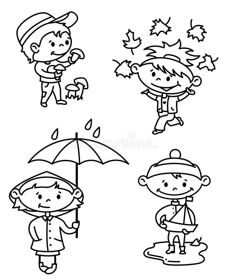 Download Autumn children stock vector. Illustration of leaf, parasol - 19716849