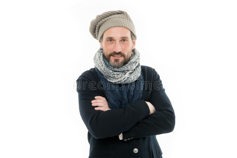Autumn is chilly. Mature man keep arms crossed isolated on white. Bearded man feel cold in autumn fashion. Confident stock photography