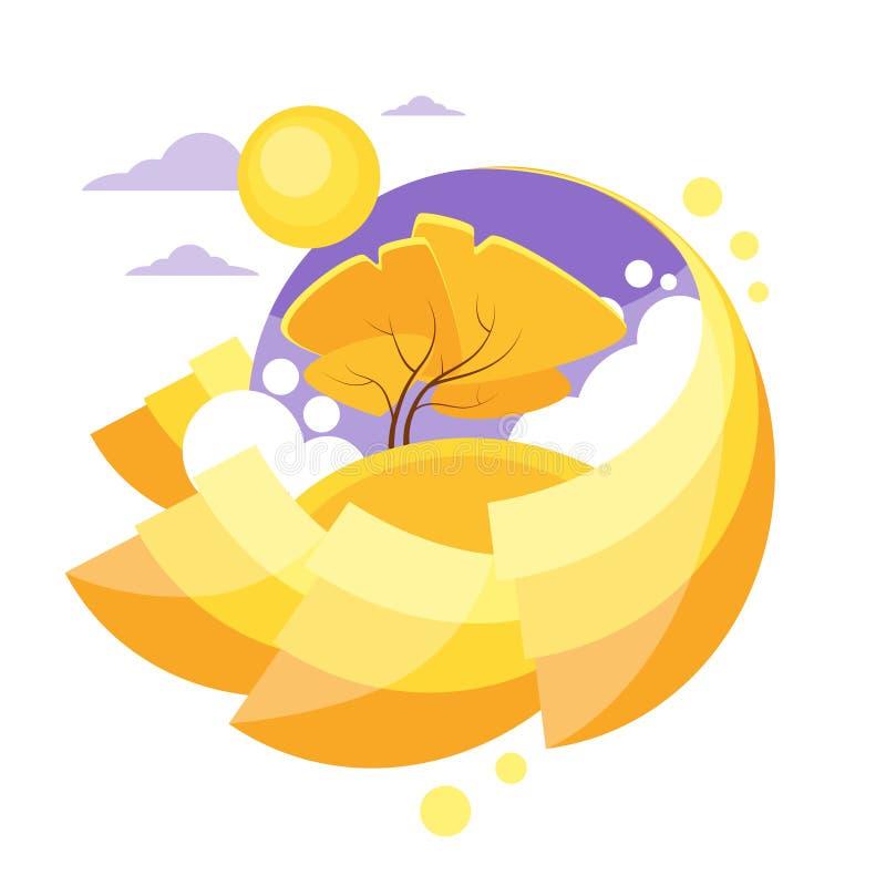 Autumn Circle Banner Flat Design Logo Yellow Tree Stock ...