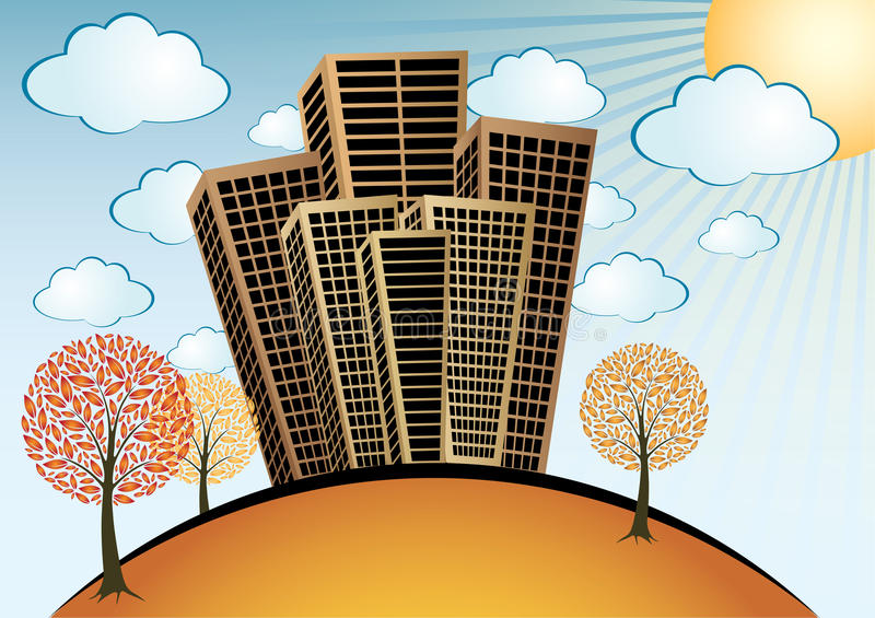 Download Autumn City stock vector. Image of autumn, rays, buildings - 22080780