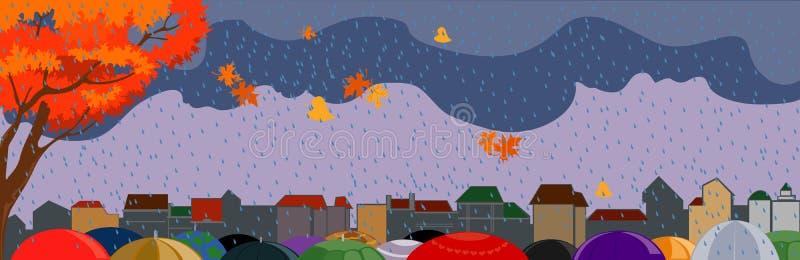 Download Autumn city stock vector. Image of raindrop, drop, water - 25642591