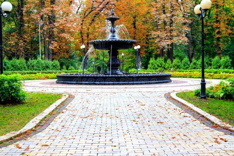 Autumn City-landschap Mooie oude fontein in het herfstpark na de regen Mariinsky Park bij het parlement van Oekraïne, royalty-vrije stock fotografie