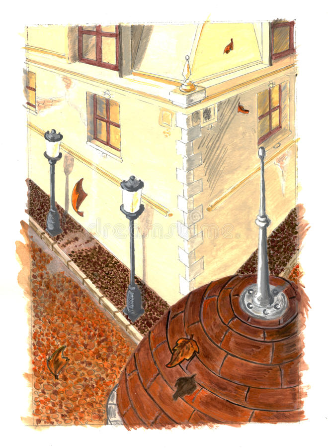 Download Autumn city painting stock illustration. Image of cobbledstone - 14488233