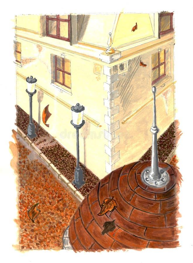 Autumn city painting stock photos