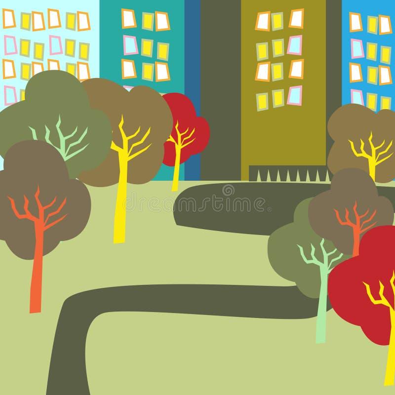 Autumn city park vector illustration