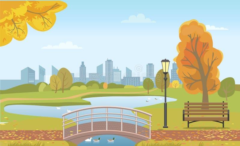 Autumn City Park con la charca y patos debajo del puente ilustración del vector