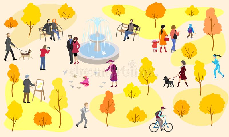 Autumn city park with fountain and walking people stock illustration