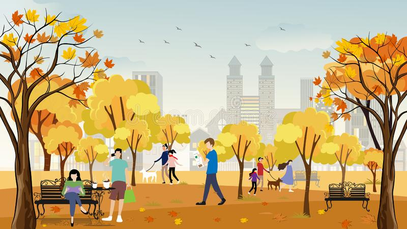 Autumn in city park with happy people having fun, family walking the dog,boy talking on phone, man reading news paper and a girl vector illustration
