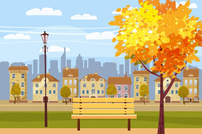 Autumn landscape in the park, city, houses, panorama, autumnal mood, wooden bench, falling leaves, cartoon style, vector royalty free illustration