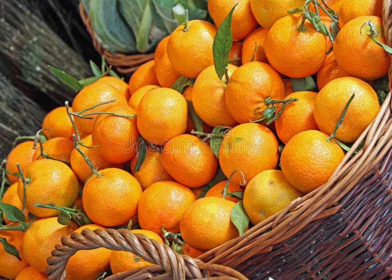 Autumn clementine fruits at market stock image