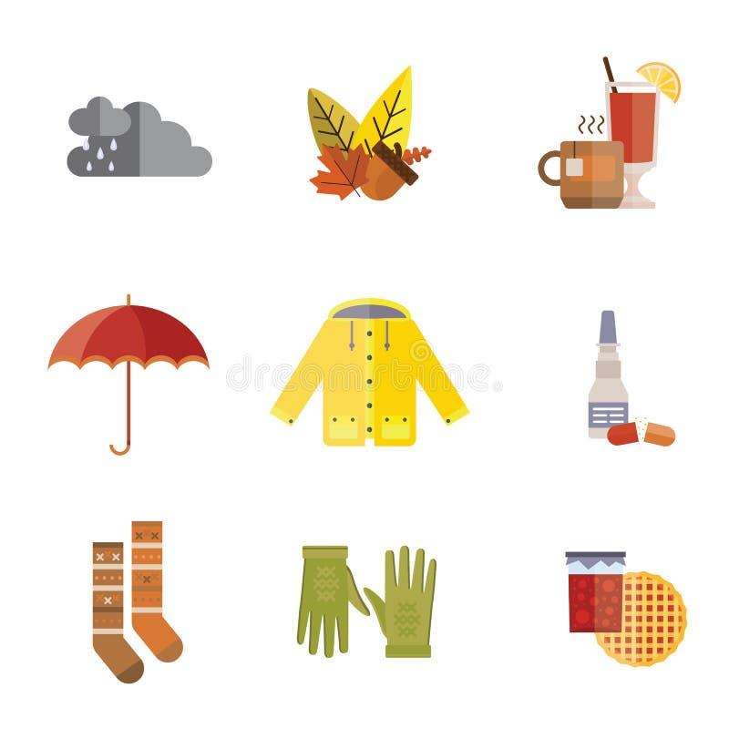Autumn clothes set the fall tree rain hat scarf gloves coat raincoat parka tea socks boots mulled wine vector stock illustration