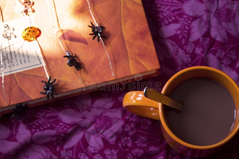 Autumn, coffee, books, Halloween stock photos