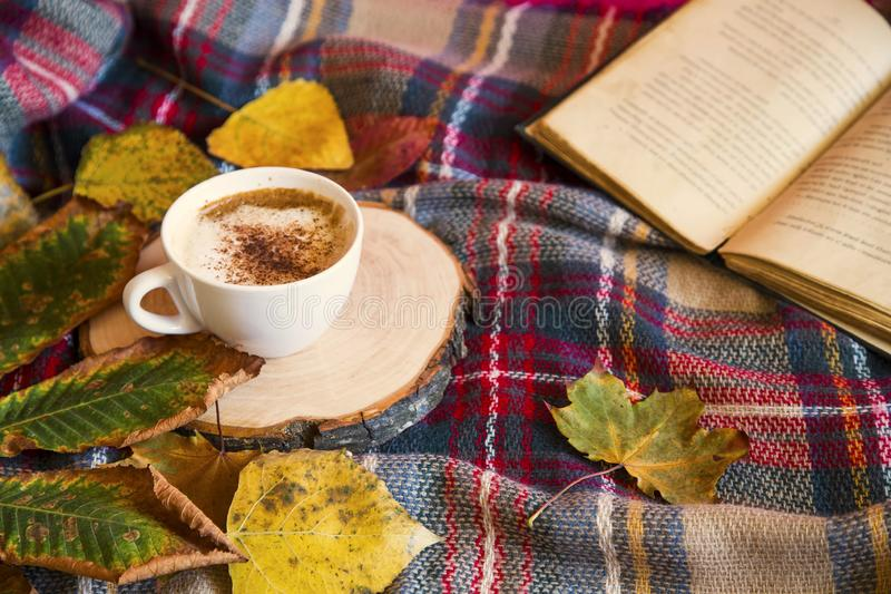 Autumn coffee cup with cozy blanket, fall deco warm home weekend with coffee cup, a book and dried leaves royalty free stock image