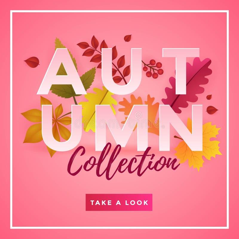 Autumn Collection Poster Template Design ilustração royalty free
