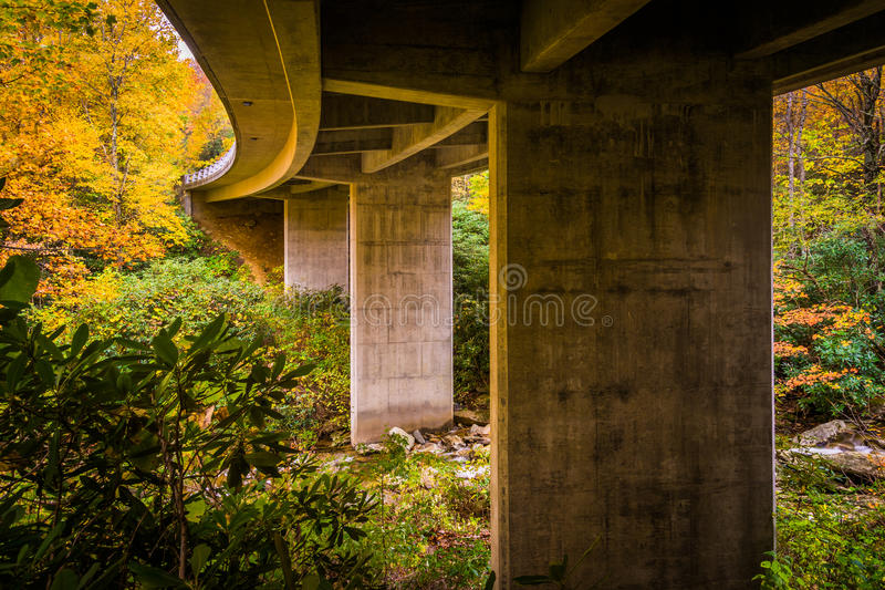 Autumn color and bridge over Boone Fork on the Blue Ridge Parkway, North Carolina. royalty free stock photo