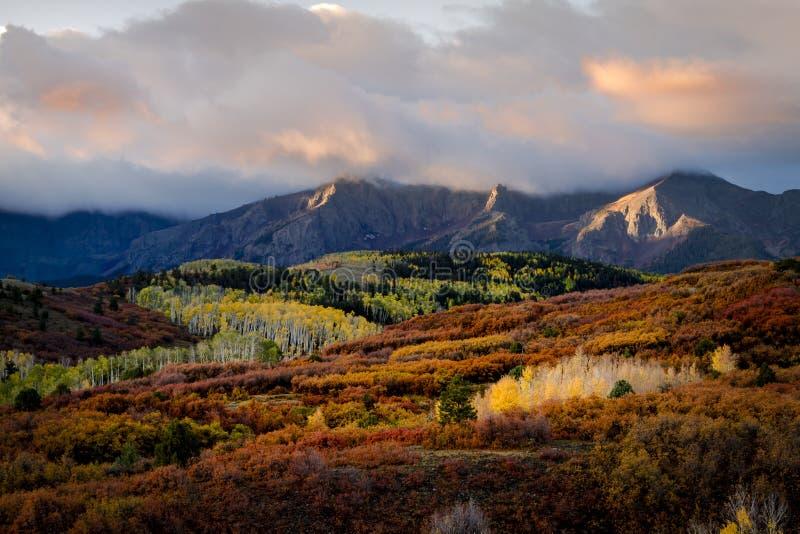 Autumn Color i San Juan av Colorado nära Ridgway och Telluride fotografering för bildbyråer