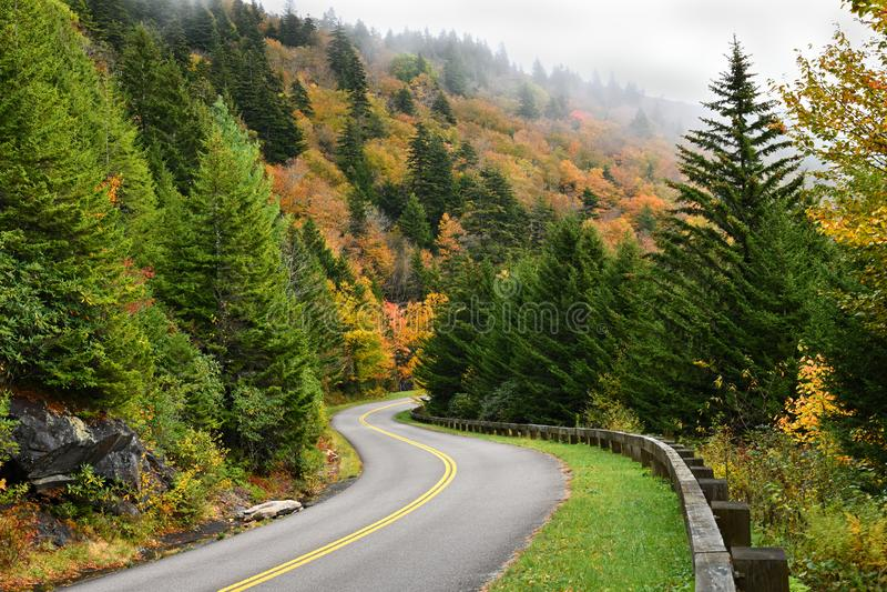 Autumn Color på Blue Ridge Parkway i North Carolina, USA royaltyfri bild