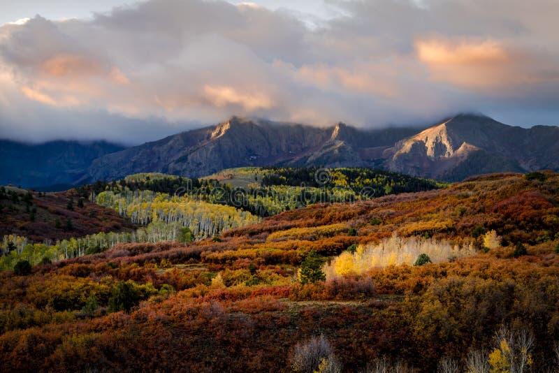 Autumn Color in San Juan von Colorado nahe Ridgway und Tellurid stockbild