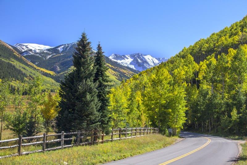 Autumn Colorado Rockies Highway. Autumn scene in the Colorado Rockies with highway stock photo