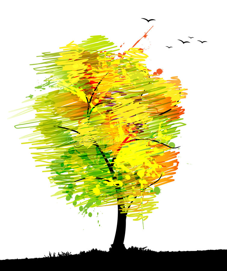 Download Autumn Colored Tree With Birds. Stock Vector - Image: 17019763