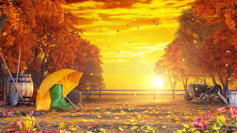 Autumn colorful background at sunset royalty free illustration