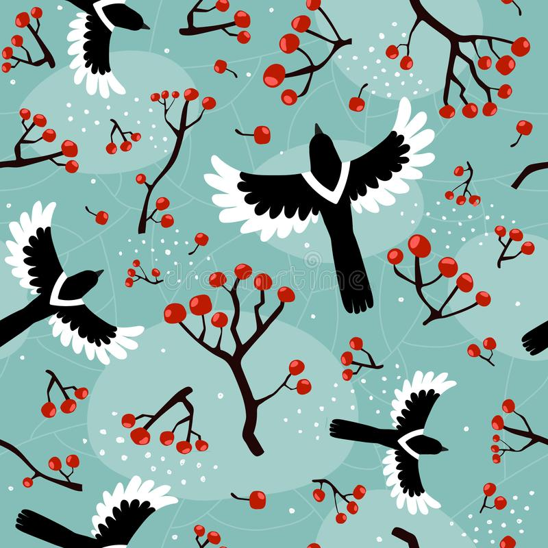 Autumn colorful seamless pattern with cartoon magpies, rowan berries, decorative elements on a neutral background. vector. season. stock illustration