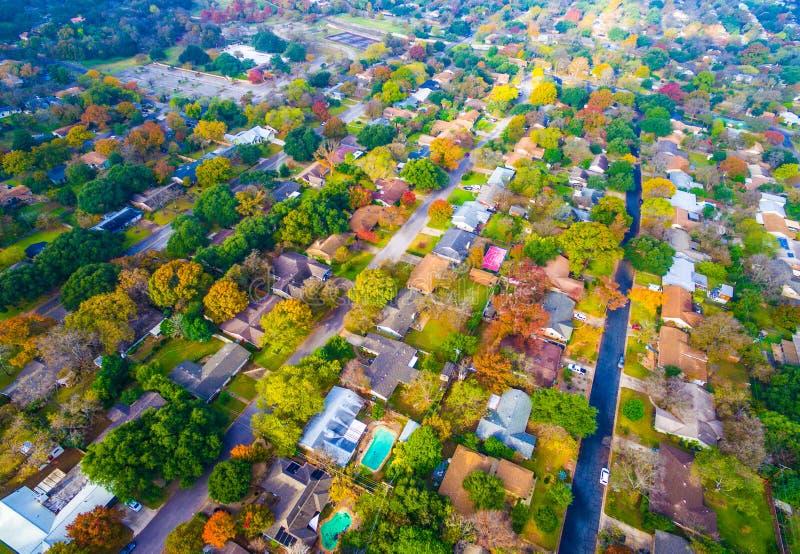 Autumn Colors Aerial op Historische Huizen in Austin, Texas stock fotografie