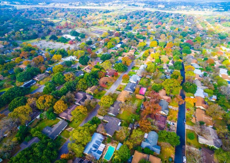 Autumn Colors Birds Eye View sur les maisons historiques dans Austin, le Texas photos stock