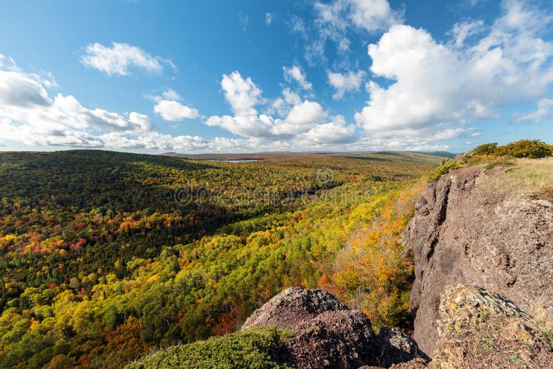 Autumn at Brockway Mountain in Copper Harbor Michigan. Autumn colors develop across Brockway Mountain near Copper Harbor, in Michigan`s Upper Peninsula royalty free stock photos