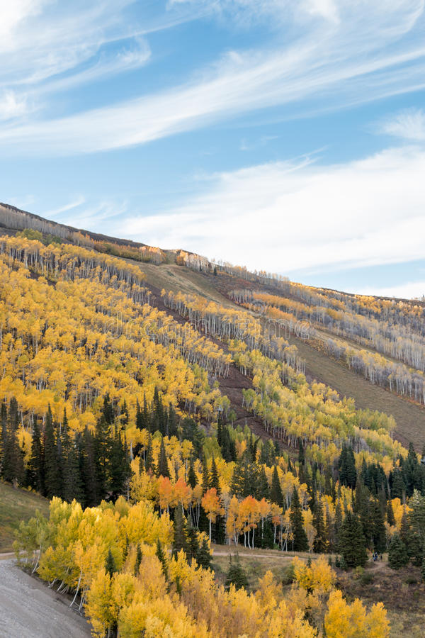 Autumn Colors et cieux bleus sur les pentes alpines photos stock