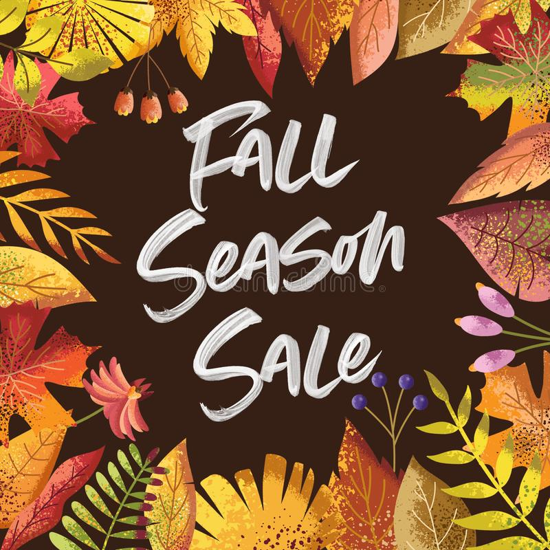 Autumn Colors Fall Season Sale Card Background. Fall Season sale card with autumn leaves and colors and brush font royalty free illustration