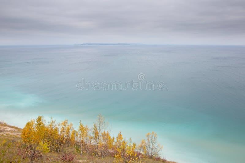 Autumn colors, Michigan, Sleeping Bear National Lakeshore. Autumn colors in Sleeping Bear National Lakeshore with Lake Michigan stock images