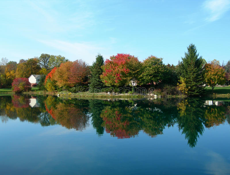 Download Autumn colors with pond stock photo. Image of branch - 20593926